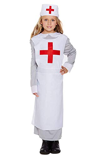 Florence Kind Kostüm Nightingale - Fancy Me Mädchen Ww1 Vintage War Nurse Florence Nightingale Kostüm Kleid Outfit 4-12 Jahre - Weiß, 4-6 Years