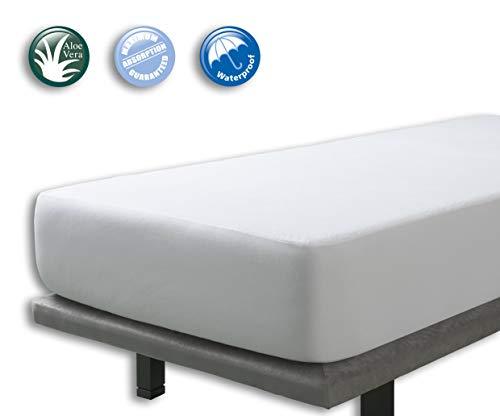 Velfont - Wasserdicht Matratzenauflage/Matratzenschoner Aloe Vera behandelt, Atmungsaktiv - 180 x 200 cm - verfügbar in verschiedenen Größen
