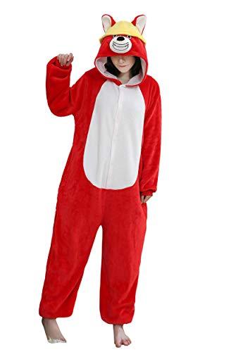 URVIP Neu Unisex Adult Pyjama Cosplay Tier Onesie Body Nachtwäsche Kleid Overall Animal Sleepwear Schlafanzug mit Kapuze Erwachsene Cosplay Kostüm Rot-Hund-01 S (Elvis Kostüm Hunde)