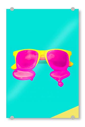 artboxONE Acrylglasbild 120x80 cm Fiktion Schmelzende Sonnenbrille - Bild Sonnenbrille Schmelzen heiß
