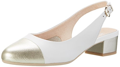 Caprice 29502, Sandales Bout Ouvert Femme Blanc (White Na.multi)