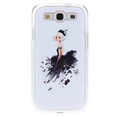Black Skirt Girl Pattern Hard Case with Rhinestone for Samsung Galaxy S3 I9300