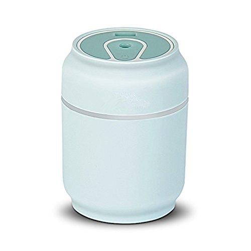 Humidificateur de brume de l'humidificateur 3-en-1 mini avec la lumière colorée de souffle/lumière/ventilateur de nuit, pour la pièce/voiture/bureau/yoga (bleu clair)