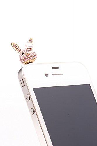 Handy Stecker Stöpsel Staubschutz Handyschmuck Handystöpsel Bling Bling Bunny Hase strass für iPhone Samsung HTC Sony - passend für jeden Kopfhörerausgang