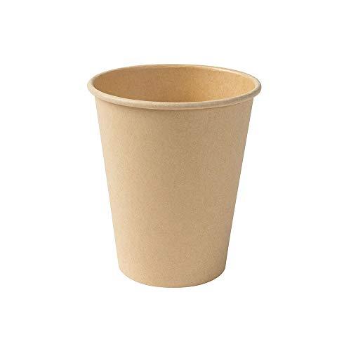 BIOZOYG Kompostierbare Bio Einweg Becher I Einmalbecher Getränkebecher Wegwerfbecher Papierbecher mit PLA Beschichtung I 250 Stück Coffee to go Pappbecher braun ungebleicht 250 ml 10 oz