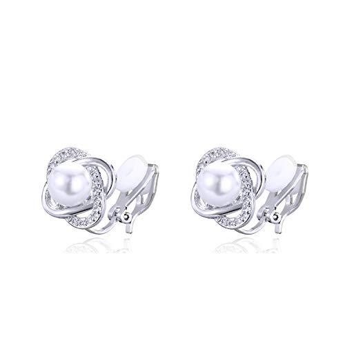 QUKE Elegante Blütenform Süßwasserperle Ohrclips Ohrstecker CZ Kristall Clip auf nicht durchbohrte Hochzeit Ohrringe für Bräute