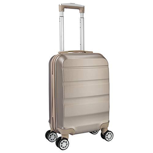 WOLTU Reise Koffer Trolley Hartschale Reisekoffer Kinder Hartschalenkoffer Handgepäck 4 Rollen, 53x33x20cm, leicht und günstig, Champagne