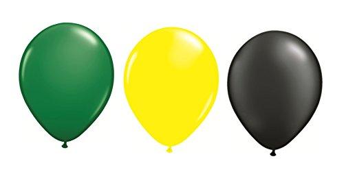 DeCoArt... Set Preis Deko Jamaika 30 Luftballons je 10x grün gelb schwarz ca. 28 cm Latexballon, 30 Ballonverschlüsse BV10 weiß und EIN weißes Aufblasventil sowie Infoblatt