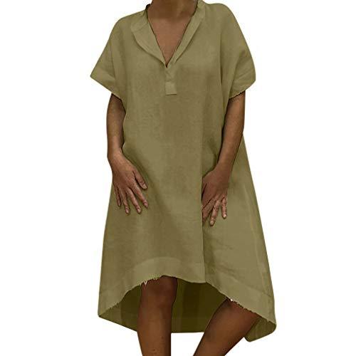 TITIU Damen Plus Size Unregelmäßige Mode Lose Leinen Kurzarm Shirt Vintage Bluse Tank Tee Oberteil Top(X6-Grün,L) (Plus Größe Tank-tops Mit Totenköpfen)