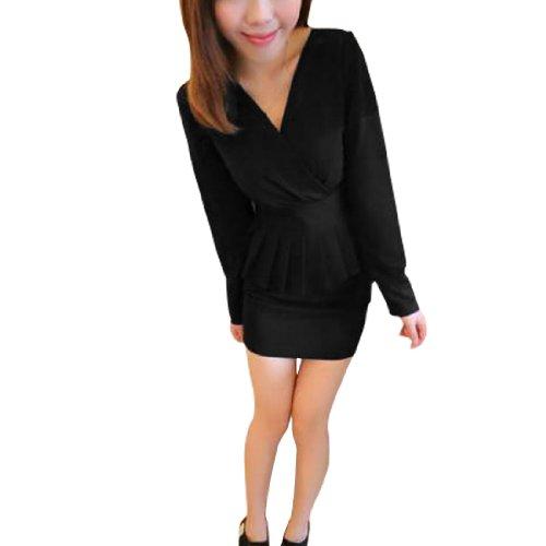 Lady V-ausschnitt Langärmelig Figurbetont Zweiton Schößchen Kleid Schwarz