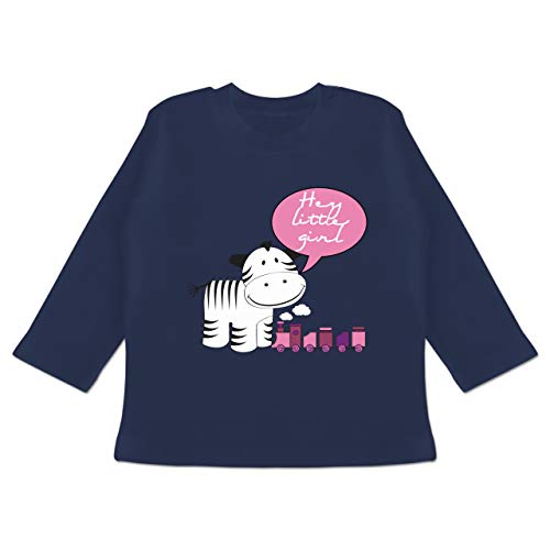 Zur Geburt - Hey Little Girl Zebra Zug - 18-24 Monate - Navy Blau - BZ11 - Baby T-Shirt Langarm -