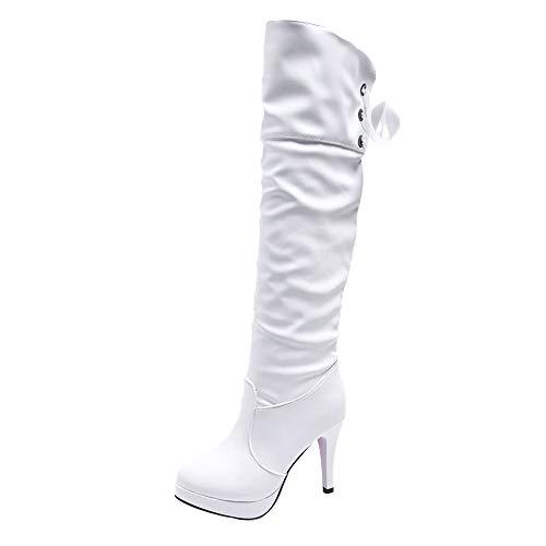 BHYDRY Schuhe Damen Pu Overknee Langschaft Stiefel Winter Reitstiefel Freizeit Elegante Schuhe Moda Ritter Schuhe Lange RöHre Martin Stiefel(38 EU,Weiß)