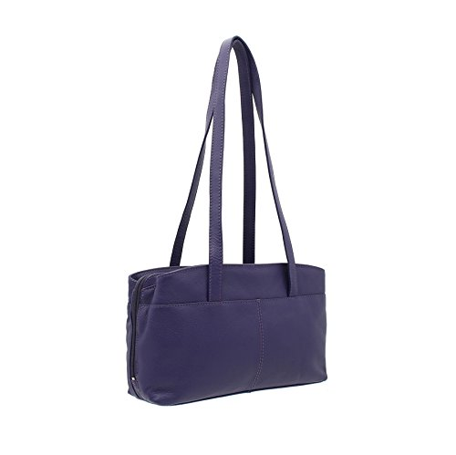 Pelle mala AZURE Collection Triple Zip morbida tracolla in pelle Borsa 782_81 Viola viola