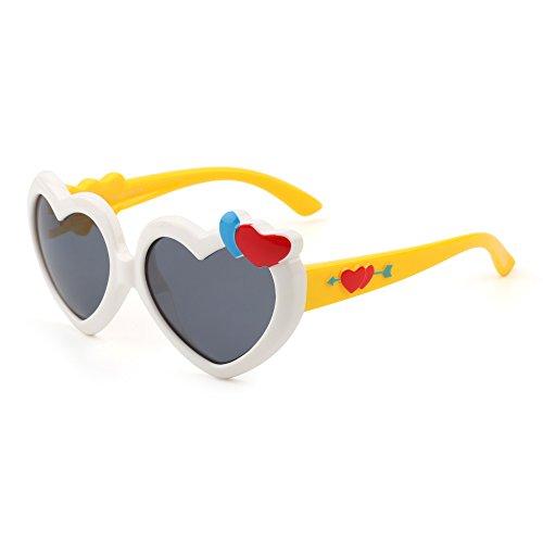 Kinder Herz Polarisiert Niedlich Sonnenbrille Flexibel Gummi Jungen Mädchen Alter 3-12(Weiß&Gelb/Grau)