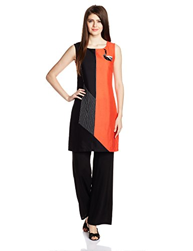 W for Woman Women's Straight Kurta (16FE15562-68844_Orange and Black_12)  available at amazon for Rs.779