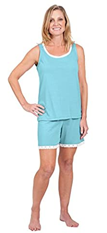 Cool-jams Women's Pajama Set – Moisture Wicking Tank Top and Waist Short Bottoms - Island, Medium