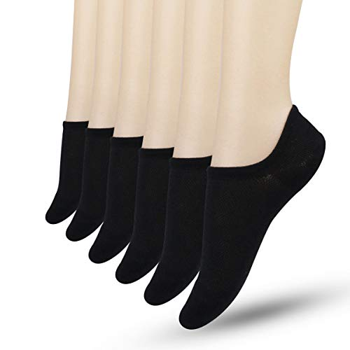 Unsichtbare Socken Damen - Frauen Halbsocken Sportsocken Unsichtbare Sneaker Socken Invisible Füßlinge atmungsaktiv Bambusfasern mit Silikon Grip rutschsicher 6 Paare (Schwarz-6Paare), 24-26 cm