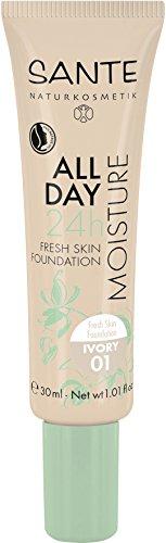 SANTE Naturkosmetik All Day Moisture 24h Fresh Skin Foundation, 01 Ivory, Heller Hautton, Hydro-Depot für Feuchtigkeit, Vegan, 30 ml