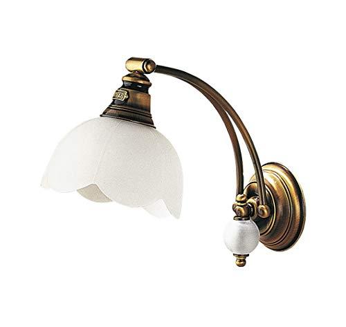Jugendstil Wandlampe Glas Schirm in Weiß Messing wohnlich TOBSYN Wandleuchte Wohnzimmer Flur