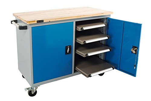 SanJi-First Mobile Tool Cabinet, 100mm(3.94in) Polyurethane casters, Single guide rail,Blue+Gray+...