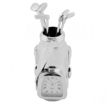 CEBEGO Golf Tischuhr versilbert im Mini-Golfbag,Golfgeschenke Golfuhr,edle Golf-Clock Desktop