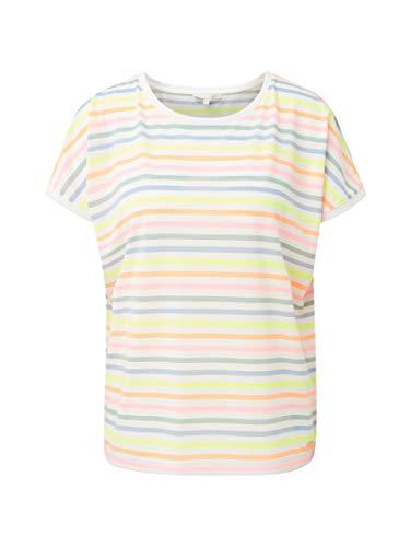 Denim-t-shirt Top (TOM TAILOR Denim T-Shirts/Tops T-Shirt mit Neon-Streifen Multicolor Thin Stripe, S)