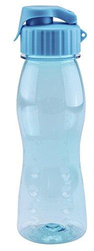 culinario Trinkflasche flip'S aus Kunststoff, 500 ml, in blau, mit Silikon-Dichtungsring, Schraubverschluss, Hängeöse, Griffmulden, geschmacksneutral