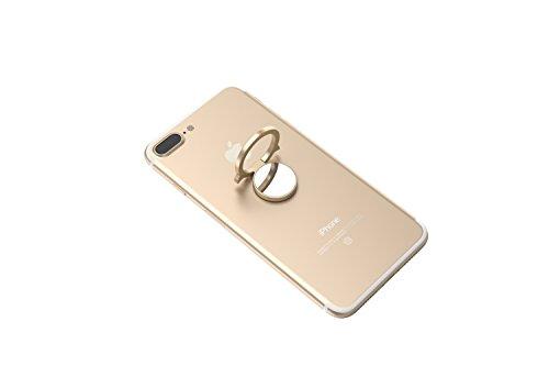 Kronya® | 360° drehbarer Smartphone Fingerhalter | Case Finger Griff Halter Halterung Handy Hülle Ring Ringhalter Ständer Tablet | Kompatibel mit Apple iPhone iPad Samsung Galaxy | 5 (Gold) -