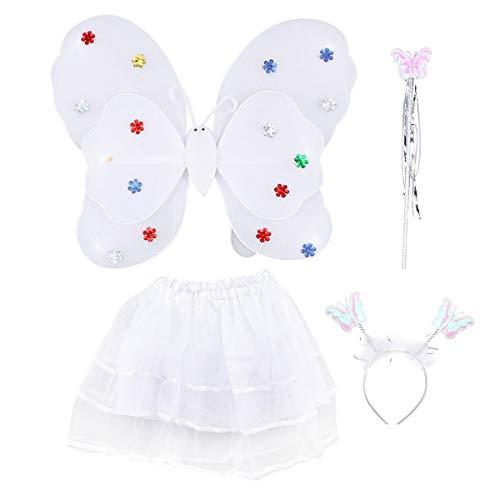Amosfun 4-teiliges Mädchen-Kostüm, Feenflügel, Schmetterlings-Kostüm, Party-Kostüm-Set mit Flügeln, Tutu Halo für Kleid und Rollenspiele (weiß)