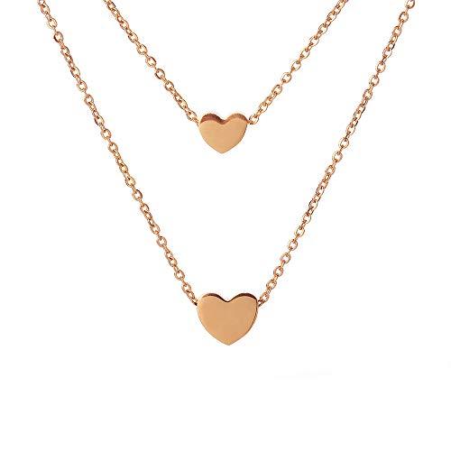 Houlife collana girocollo multifila in acciaio chirurgico con ciondolo a forma di cuore in oro rosa argento lucido oro collana regalo per donna & ragazza e acciaio inossidabile, colore: oro rosa, cod.