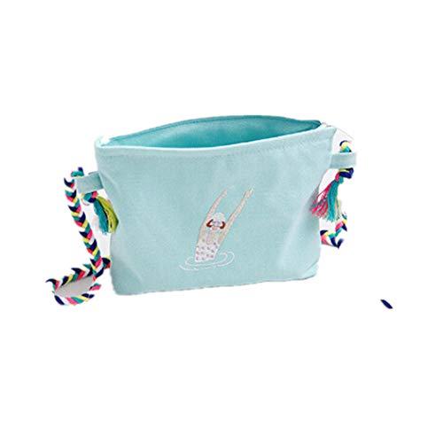 Gestickte Messenger Tasche (Eleusine Frauen Messenger Bags Stickerei Segeltuch Karikatur Crossbody Umhängetaschen Kleine Weibliche Handtaschen (Grün))