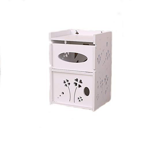 Toilettenpapierhalter nagellose selbstklebende wasserdichte Holz-Kunststoff-Platte Toilettenpapier-Aufbewahrungsbox, geeignet für Badküche (weiß) -