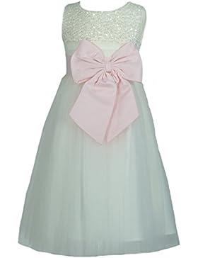Samtlebe® - Blumenmädchenkleid Mädchenkleid Satin / Tüll knielang FF626 in Cremeweiß mit Rosa Schleife Gr. 92-...