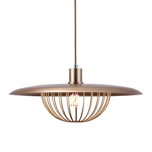 Zceillamp Gold Disc Hängende Lampen European Pendant Lights Iron Mesh Shade E27 Bulb-Cafe Bar Loft Bedroom Dining Room Lighting Decoration Lamp Nickel Wire Mesh