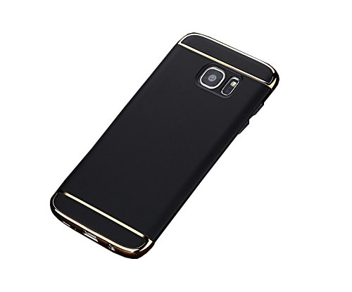 SDO™ 3 in 1 Gold Chrome Shockproof Hybrid Protective Back Case Cover for Samsung Galaxy J7 Prime (Black with Gold)