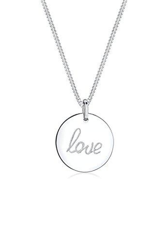 Elli Damen Schmuck Halskette Kette mit Anhänger Liebe Love Schriftzug Wording Silber 925 Länge 45 cm