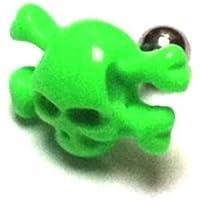 Chic-Net fasullo Piercing Plug Tunnel Ear Stud Unisex Plastica gioielli verde teschio pirata