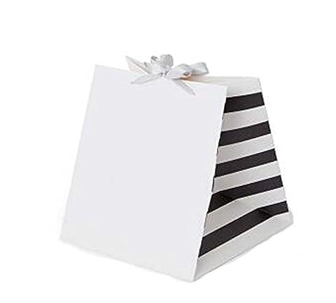 Ensemble de 3 Boîte Fleur Emballage cadeau carré Sac de papier Kraft Paniers de fleurs, noir