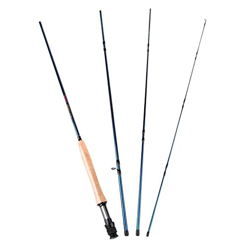 LMEI-QUN, Leichte, Ultra-tragbare Fliegenfischer-Rute aus Graphit-Stangen-Kohlefaser-Rohlingen. 4-teilige Rute aus rostfreiem Stahl (Color : Blue)