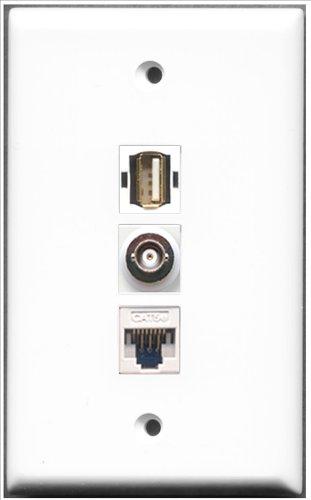 RiteAV-1Port USB A-A + 1Port BNC und 1Port Cat-5e Ethernet White Wall Plate White Wall Plate Insert