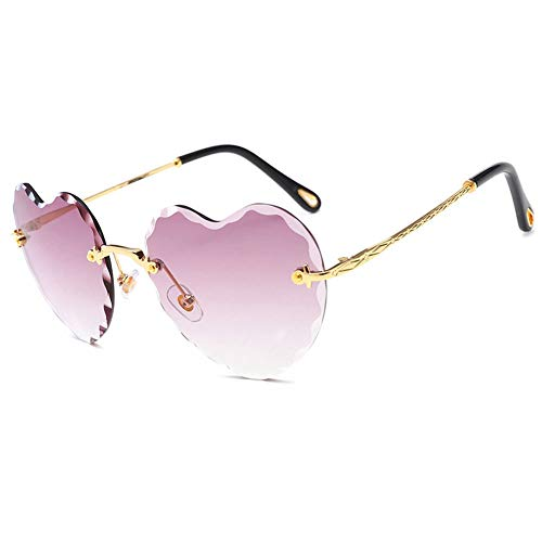 YKXIAOYU Rahmenlose Damen-Sonnenbrille In Herzform Vintage Pc-Linse Metallrahmen Uv400 Geeignet FüR Stadtspaziergang, Dekoration