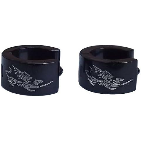 cameleon-shop-braccialetto–Orecchini Anelli cerniera–Acciaio Inossidabile–Chimera–Nero