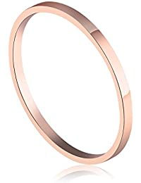 bigsoho Stainless Steel Rose Gold Plated Glossy Simple Glossy Ring Women Ring Size F,H,J 1/2,L 1/2,N 1/2,P 1/2 (1 Piece)