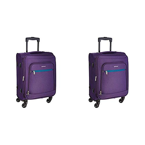 Aristocrat Nile Polyester 54 cms Purple Soft Sided Carry-On + Nile Polyester 66 cms Purple Suitcase (STNILW54PPL + STNILW66PPL)