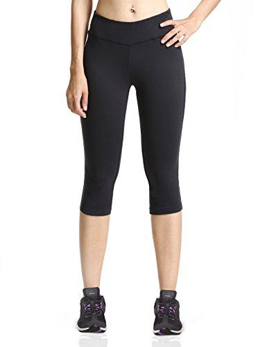 Baleaf Damen Yoga Sport Hose Workout Training CapriLeggings Innentasche Schwarz Größe XL -
