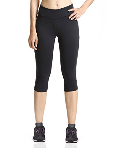 Baleaf Damen Yoga Sport Hose Workout Training CapriLeggings Innentasche Schwarz Größe XL Low Rise Capri Hose Workout