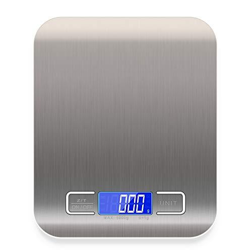 Báscula de cocina digital para alimentos, sensor de alta precisión, superficie de pesaje lisa de acero inoxidable, interruptor de transferencia de la unidad (g/ozt / 1b\'oz)