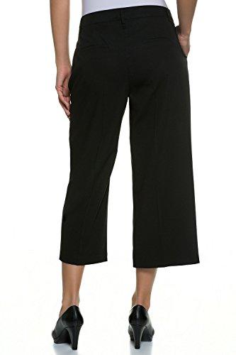 GINA_LAURA Damen   Culotte-Hose Julia   elegante 3/4-Stoffhose   Größe 38-48   Bügelfalte, weites gerades Bein   172269 Schwarz