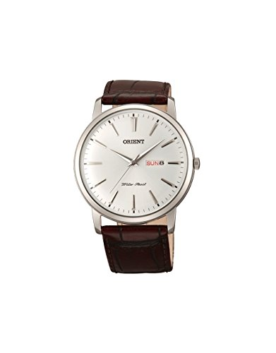 Orient Men's 43mm Brown Calfskin Stainless Steel Case Quartz Watch FUG1R003W6