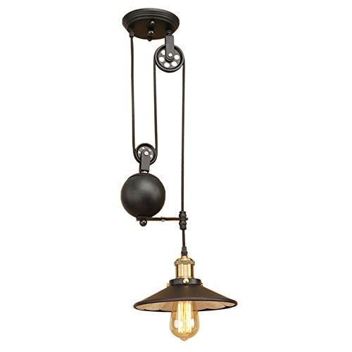MOOOY Lampada a sospensione industriale con design a puleggia Lampada a filo regolabile Illuminazione a scomparsa (nero)